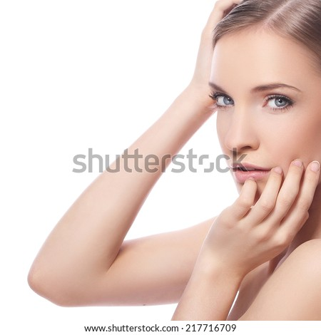 Beautiful woman with cute face on a white background - stock photo