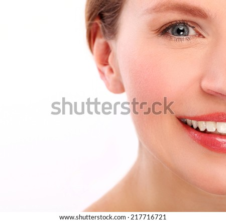 Beautiful woman with cute face on a white background
