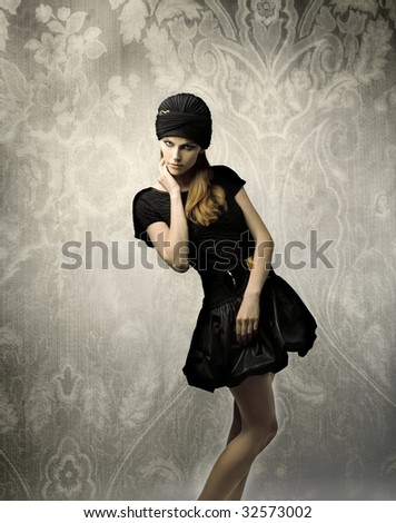 beautiful woman with elegant dress - stock photo