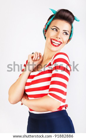 beautiful woman with energetic smile - stock photo