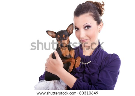 beautiful woman with fashion dog in hands,  isolated on white - stock photo