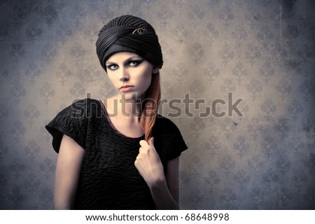 Beautiful woman with fashion hat - stock photo