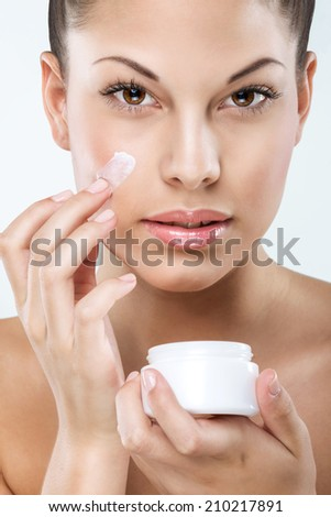 Beautiful woman with flawless skin, facial, hydration, - stock photo