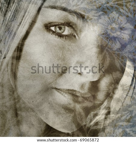 beautiful woman with flower wallpaper overlay on grunge background in tintype print style