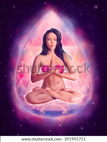 Beautiful woman with flowers sitting in pink crystal  lotus position, meditation and yoga pose in cosmic space with roses, peaceful mind poster or banner idea