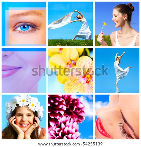 Beautiful woman with  flowers under blue sky - stock photo