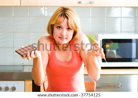 beautiful  woman with food in her hands