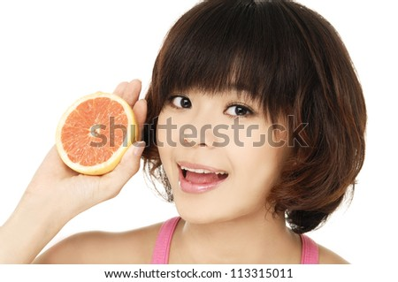 Beautiful woman with fruit