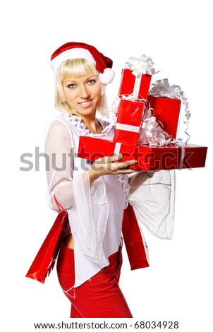 Beautiful woman with gift boxes. Isolated over white - stock photo