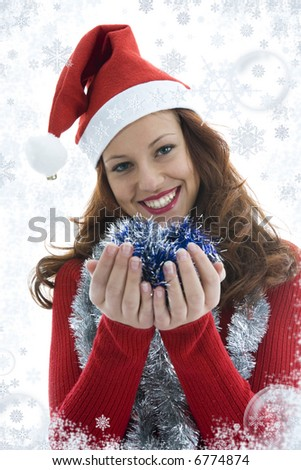 Beautiful woman with gift on white background