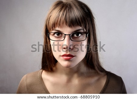 Beautiful woman with glasses - stock photo