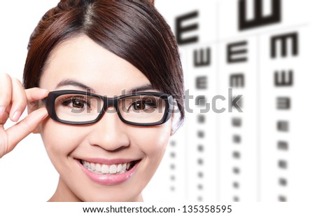beautiful woman with glasses on the background of eye test chart, eye care concept, asian beauty - stock photo