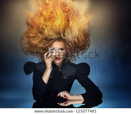 Beautiful woman with gorgeous hair - stock photo