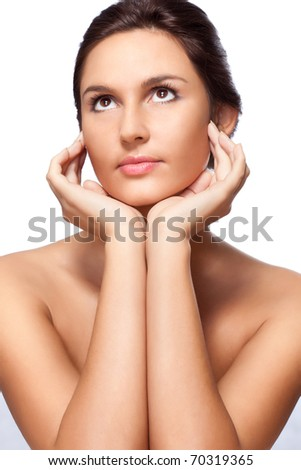 beautiful woman with hands closeup portrait over white - stock photo