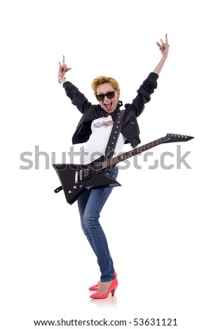 beautiful woman with hands up in the air and guitar - isolated on white - stock photo
