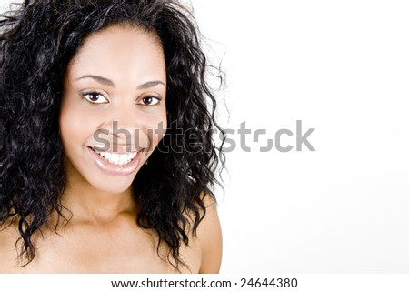 Beautiful woman with happy smile - stock photo