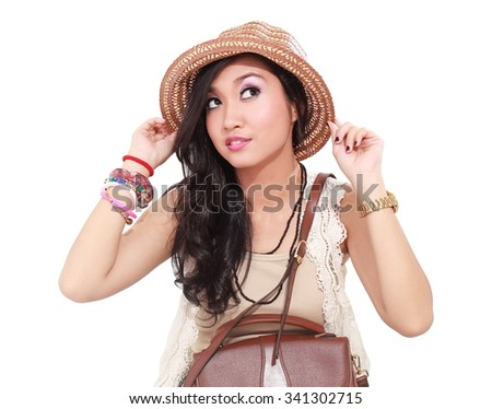 beautiful woman with hat and bag, isolated on white background