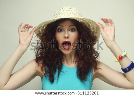 Beautiful woman with hat, happy time