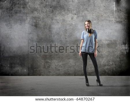 Beautiful woman with headphones - stock photo