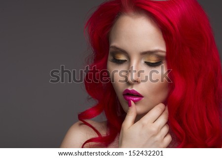 Beautiful Woman with Healthy Red Hair - stock photo