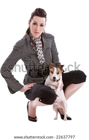 Beautiful woman with her jack russel terrier on white background - stock photo