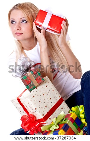 beautiful woman with holiday gift on a white background