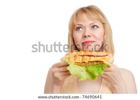 beautiful woman with hot dog on a white background - stock photo