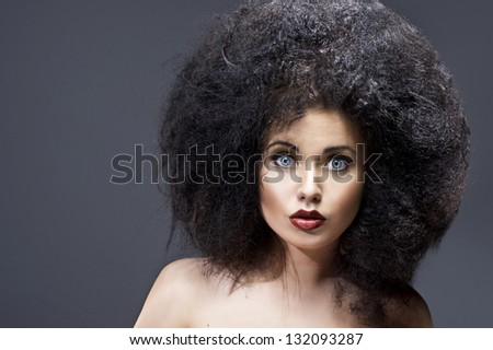 Beautiful woman with huge afro
