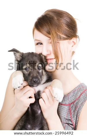 beautiful woman with little puppy isolated