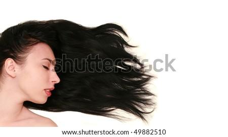 beautiful woman with long black hair - stock photo