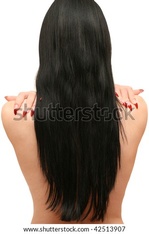 beautiful woman with long black hair is back - stock photo