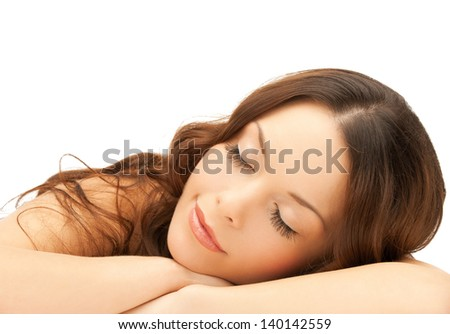 beautiful woman with long eyelashes in spa - stock photo