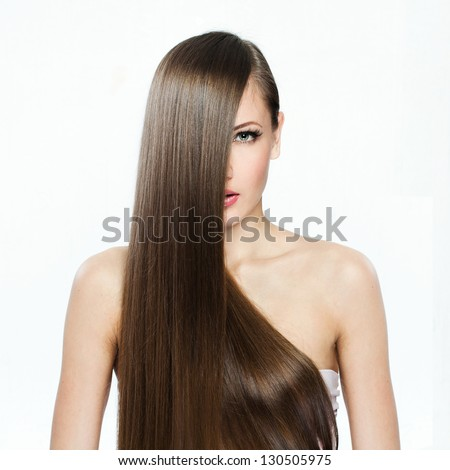 Beautiful Woman with  Long Hair , beauty woman model , clean skin face , glamour makeup - stock photo