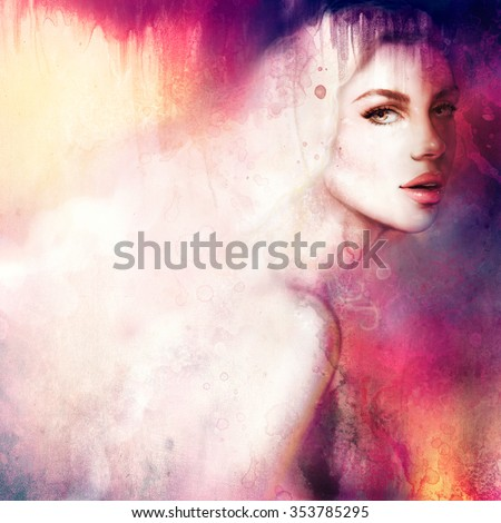 beautiful woman with long hair. digital and watercolor art. abstract fashion illustration - stock photo