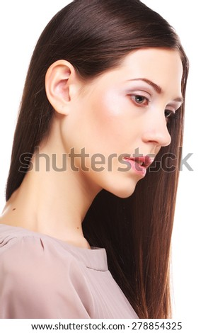 beautiful woman with long hair groomed, against white background