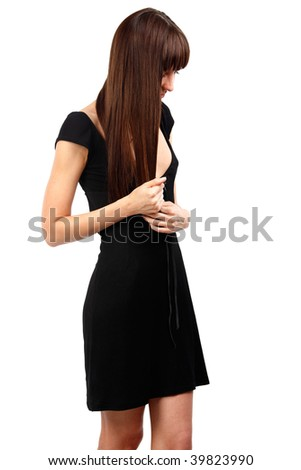 beautiful woman with long hair looking down - stock photo