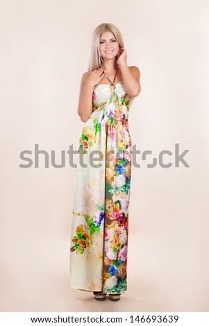 Beautiful woman with long hair vogue style Fashion girl model, sexy blonde woman with shiny silky hair in elegant summer dress. Summer fashion woman. Sales discount shopping. Beauty Model Girl blonde - stock photo