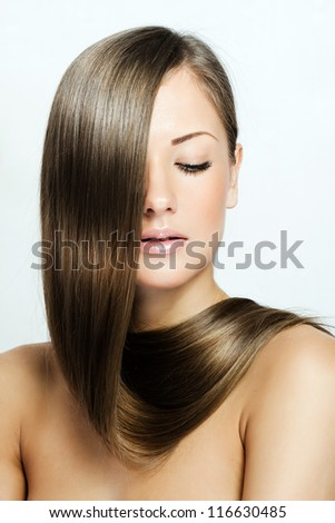 beautiful woman with long natural healthy hair , brown hairstyle - stock photo