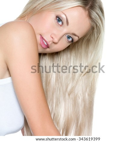 Beautiful woman with long straight hair - isolatad - stock photo
