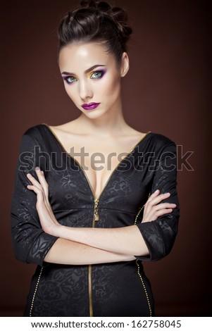 Beautiful woman with make-up. Fashion photo - stock photo