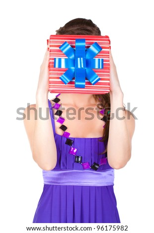 beautiful woman with make up in dress with a gift - stock photo