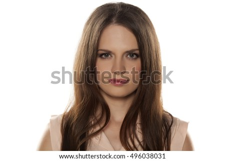 beautiful woman with makeup on a white background