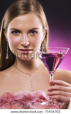 beautiful woman with martini glass