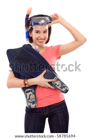 beautiful woman with mask and flippers isolated - stock photo
