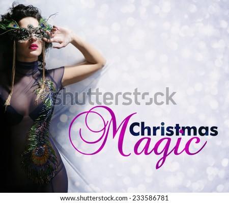 beautiful woman with mask in night club  - stock photo
