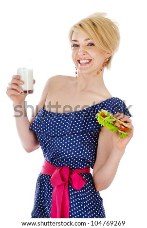 beautiful woman with milk and sandwich. isolated on white background - stock photo