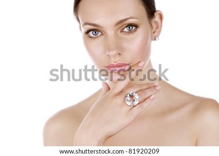 Beautiful woman with perfect makeup - stock photo