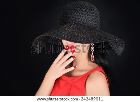 Beautiful  woman with perfect makeup and fashion accessories.  - stock photo