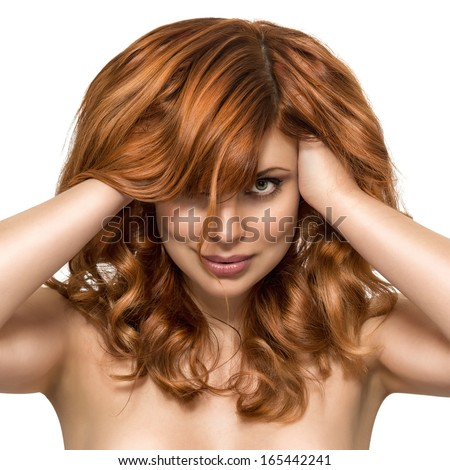 Beautiful woman with perfect skin and beauty hairstyle on a white background. Red Hair. Fashion Girl Portrait. Long Curly Hair - stock photo