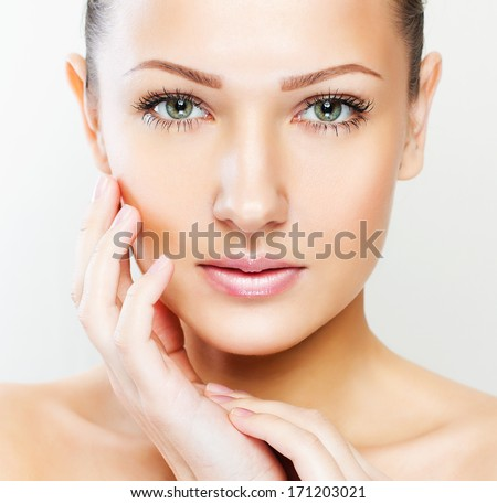 beautiful woman with perfect skin and face